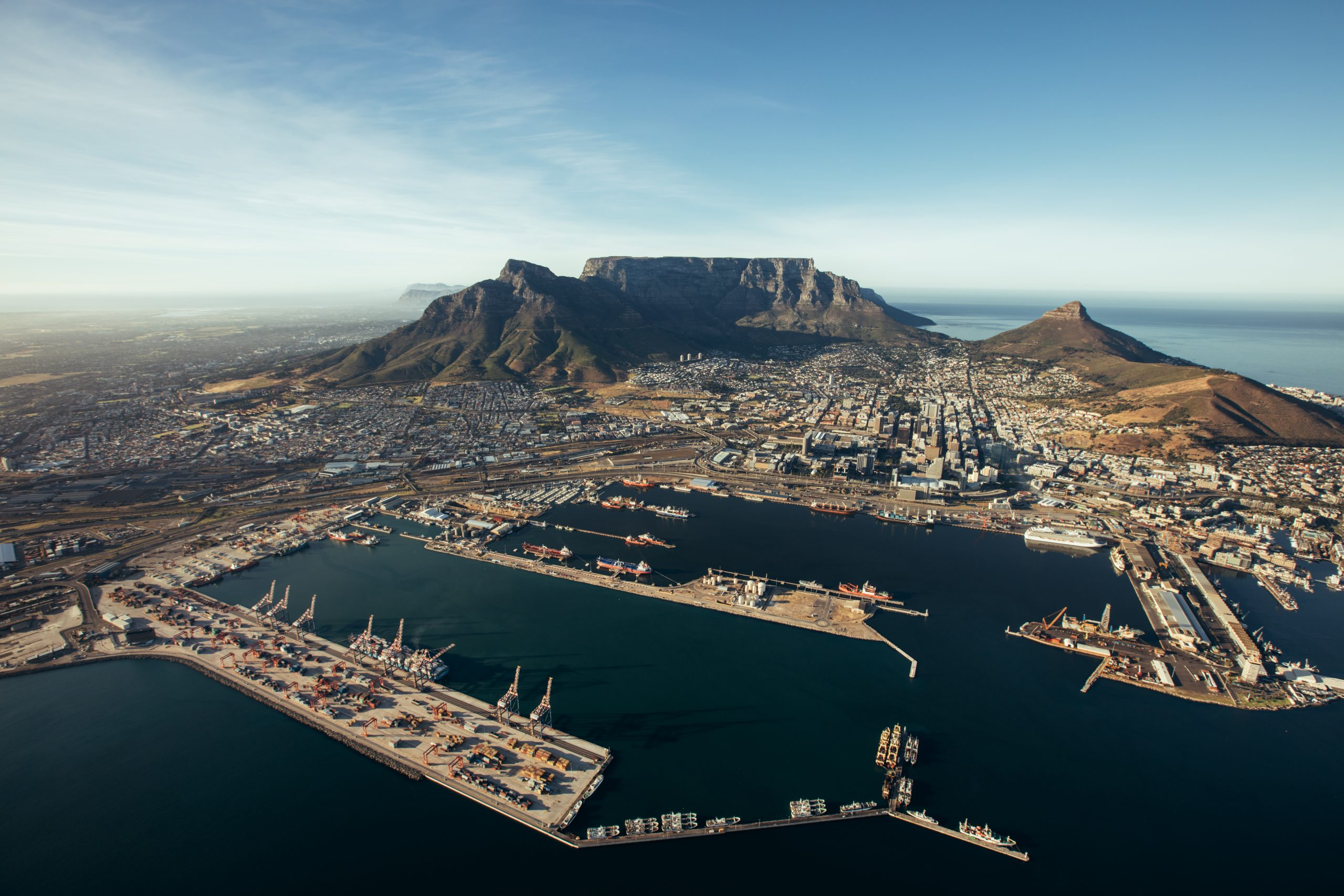 Aerial view of entrance of the port of cape town. Commercial docks of cape town harbour.